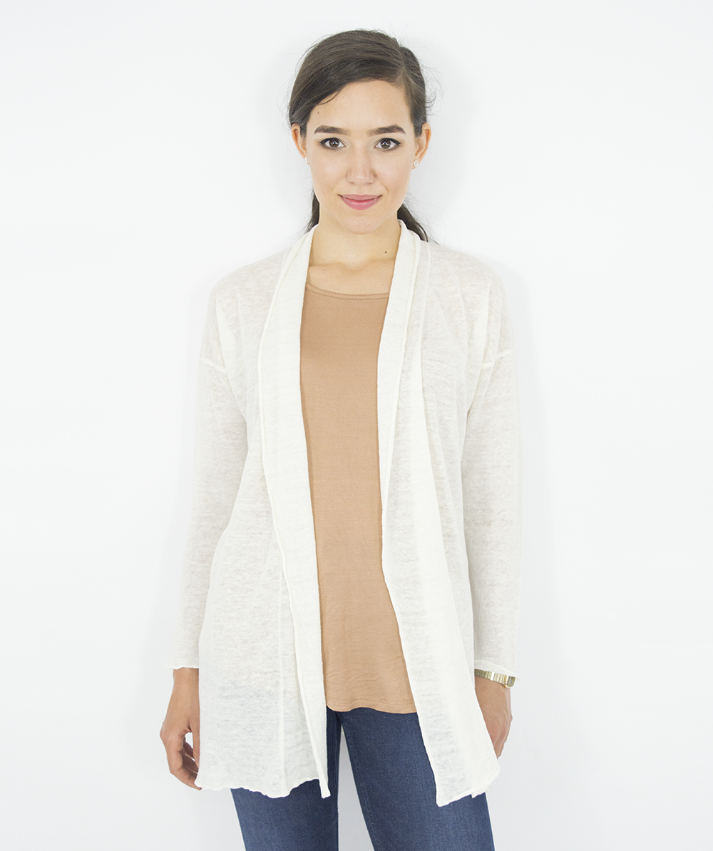Cardigan ecru din 100% in