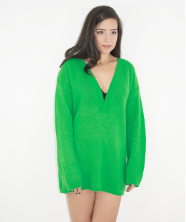 Pulover forest green oversize din mohair