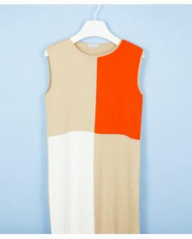 TRICOLOURED DRESS