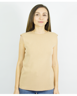 BEIGE TOP WITH BACK DECOLLETAGE