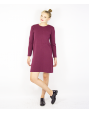 BURGUNDY DRESS WITH OVERSIZED POCKET